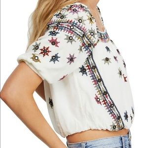 Free People Aurura Embroidered Top Size Small